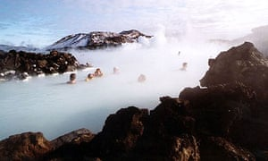 Bathers at a spa in Grindavik, Iceland