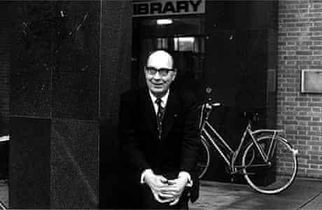 Philip Larkin outside Hull University Library