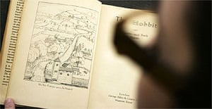 A copy of the 1937 first issue of the first edition of 'The Hobbit' by author JRR Tolkien on display at Bonhams in London, March 17, 2008