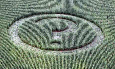 Question mark crop circle for quizzes