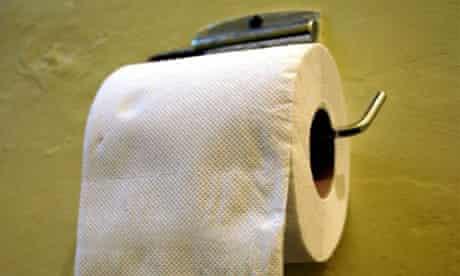 A toilet roll in a public toilet