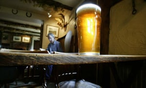A pint of beer in a traditional pub