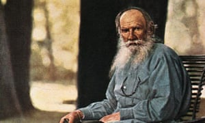 Hand-tinted photograph of Tolstoy dressed as a peasant