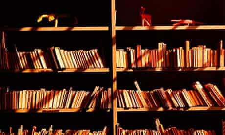 Books on shelves, in sunlight and shadows