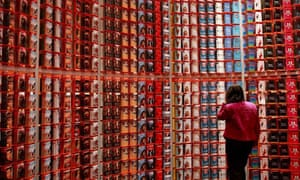 A visitor looks at books during the 60th Frankfurt Book Fair