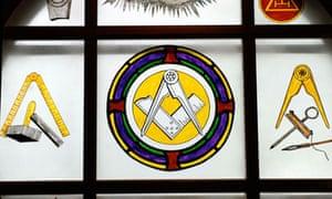Freemason symbols on a plate glass window