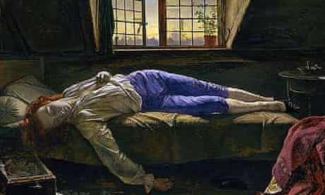 Detail from Henry Wallis's portrait of Chatterton (1856)