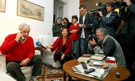 Juan Marsé meets the media after winning the Cervantes prize