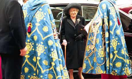 The Queen Mother attends the service of Thanksgiving for Ted Hughes at Westminster Abbey