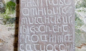 Ancient stone tablet on Caldey Island in Pembrokeshire