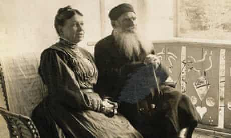 Leo Tolstoy Sitting with Wife
