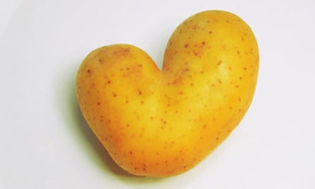 Heart shaped potato on plate