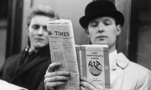 A 1960 commuter reads Lady Chatterley's Lover.