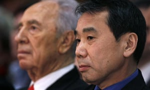 Japanese writer Murakami and Israel's President Peres attend ceremony in Jerusalem