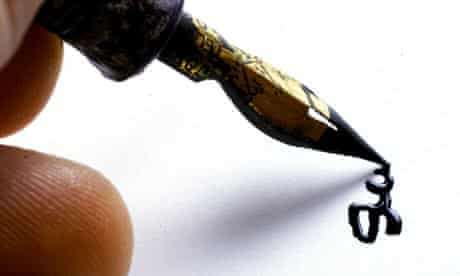 Signature with ink fountain pen