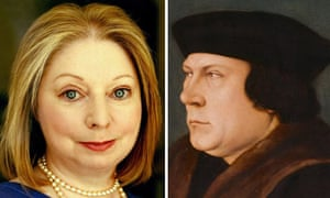 Hilary Mantel and detail from portrait of Thomas Cromwell after Hans Holbein the Younger