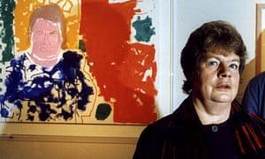Novelist AS Byatt in front of Patrick Heron's portrait of her