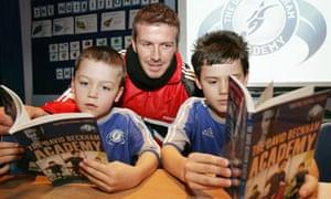 David Beckham and pupils at the David Beckham Academy