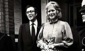 Harold Pinter and Antonia Fraser after their weddingin 1980