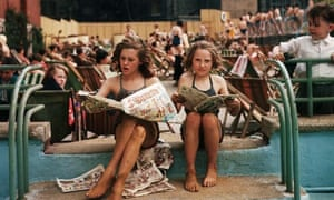 Girls Reading Comics at Open Air Pool, London
