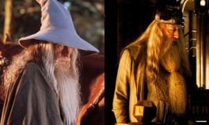 Ian McKellen as Gandalf in The Lord of the Rings and Michael Gambon as Dumbledore in Harry Potter