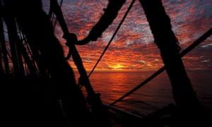 Sunset on board the reconstructed Alexander von Humboldt in the Mediterranean.