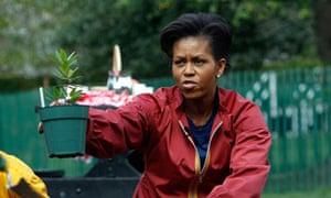 Michelle Obama at work in her kitchen garden