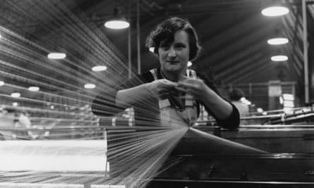 A woman spinning cotton in a Wigan, Lancashire cotton mill in 1955