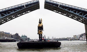 Replica Anubis sails down Thames