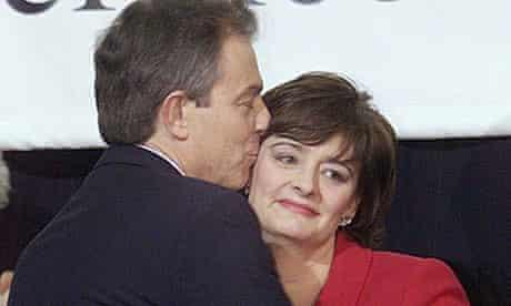 Tony Blair kisses Cherie