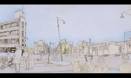 London Road Between Templeton's Carpet Factory and Monaco Bar, 1977 by Alasdair Gray