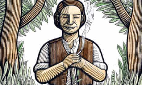 Illustration of gardener resting on his hoe