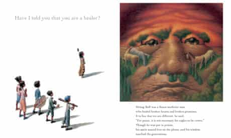 Indian ink ... the Sitting Bull page of Barack Obama's new children's book, Of Thee I Sing