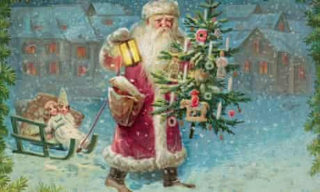 Santa Claus holding a Christmas tree