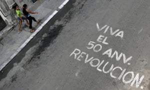 Graffiti celebrating the 50th anniversary of the Cuban Revolution in Havana
