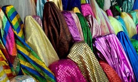 Fabrics on sale in the Marché Saint Pierre
