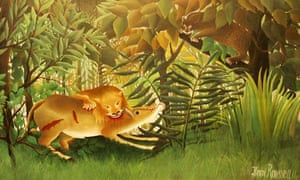 The Hungry Lion Throws Itself on the Antelope by Henri Rousseau