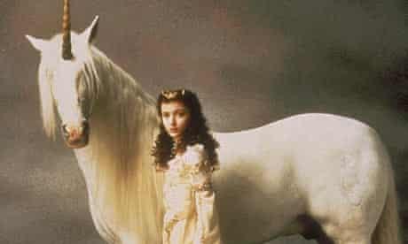 Mia Sara and unicorn in Legend