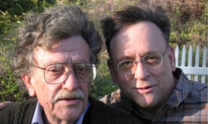 Double Deutsch ... The late author with his son Mark, who sits on the Kurt Vonnegut Memorial Library