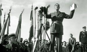 Charles de Gaulle speaks at a ceremony in Bruneval in 1947