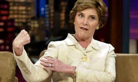 Laura Bush flexes her muscles on The Tonight Show