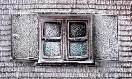 Snow-covered window