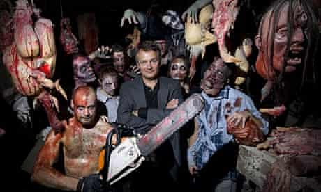 Charlie Higson surrounded by zombies