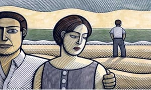 illustration of couple on beach with a second man in the background