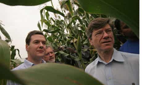 Jeffrey Sachs, right, with George Osborne, inspect maize crops in the village of Ruhiira, Uganda