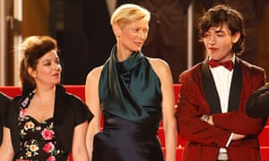 Director Lynne Ramsay and actors Tilda Swinton and Ezra Miller at Cannes