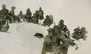 George Mallory (upper left) and Sherpas on Everest, 1922