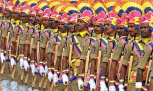 Police officers mark independence in the Indian city of Secunderabad