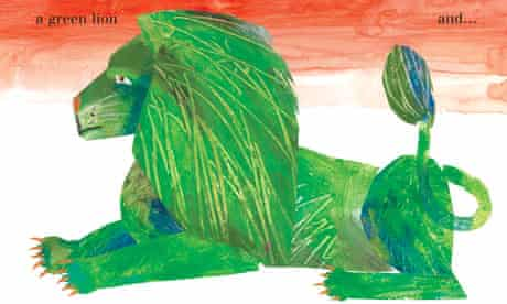 A spread from The Artist Who Painted a Blue Horse by Eric Carle