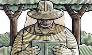 Illustration of beekeeper reading poetry